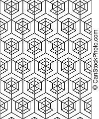 Futuristic continuous black and white pattern, illusive...