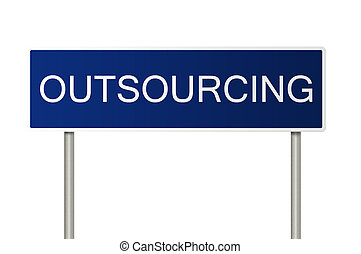 Road sign with text Outsourcing