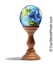 Fortuneteller glass globe on a wooden plinth - Fortuneteller...