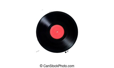 Vinyl record with a lot of notes. Vinyl record playing music