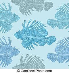 Venomous marine fish seamless pattern - Lionfish Venomous...