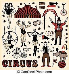 Vintage Circus Set - Circus set. Vintage Circus Set. Vector...