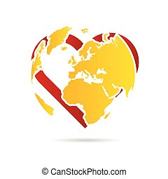 planet earth with heart illustration