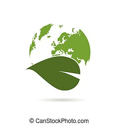 planet earth green with plant illustration on white
