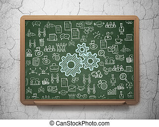 Business concept: Gears on School Board background
