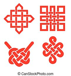 Auspicious Endless knots set.Buddhist symbol. - Endless...