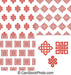 Auspicious Endless knots Chinese seamless patternRed -...