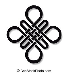 Auspicious Endless knot.Buddhist symbol.Black - Endless...
