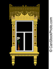 Window and flowers - Woodcarved window and flowers in vaze