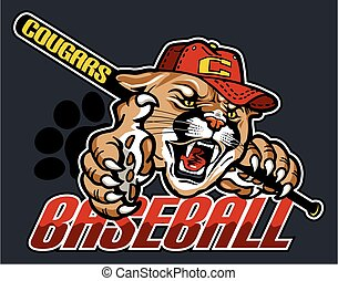 cougar baseball team design with mascot for school, college...