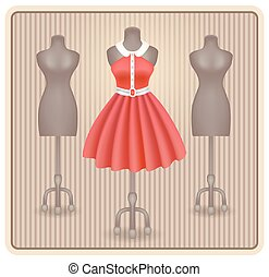 Dress in retro style on dummy - Fashionable dress in retro...