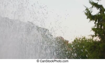 Slow motion of flying water. Fountain work shot at 120fps....