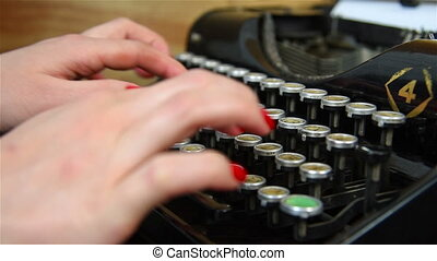 Hand Typing on Typewriter. - Hand Typing on Vintage...
