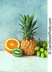 Ananas - Healthy fruit background, Ananas and different...