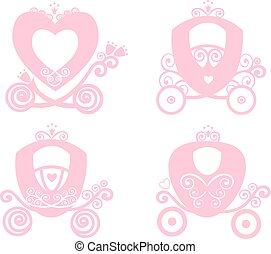 Fairytale Royal pink princess carriage, vector vintage  girl carriage, online store, logo, silhouette, icon on white background