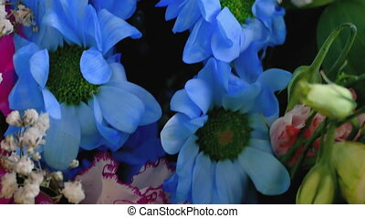 flowers - bouquet of blue flowers close-up of  video 4K