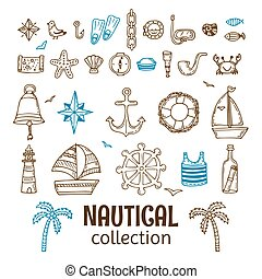 Hand drawn nautical collection. Marine icon set. Sea and ocean