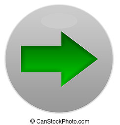Green directional button isolated on white background.