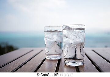 Glass of water at restaurant