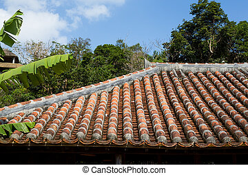 Old asian roof clay tiles