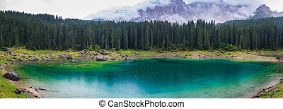 Karersee during a rainy day - The astonishing colours of the...
