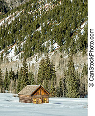 Log Home in Winter in Front of a Mountain