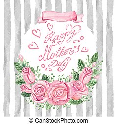 Watercolor pink roses bouquet,headline,stripsMother day card...