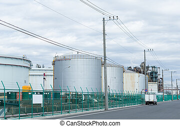 Fuel Storage Tank in industrial city