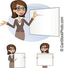 Business woman with board- set