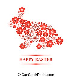 Easter flowers bunny card - Vector illustrations of Easter...