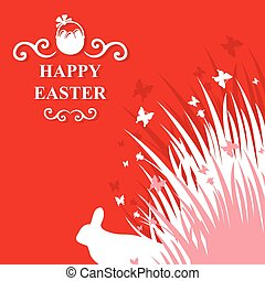 Easter rabbit in grass card