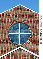 Stained glass windows with brick background