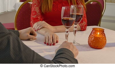 video 4K man and girl woman evening in restaurant drinking...