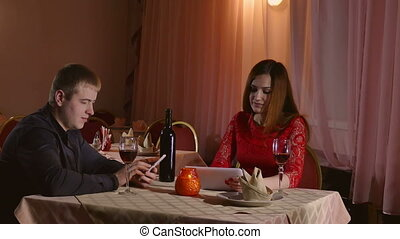 man and girl romance - man and girl with smartphone and...
