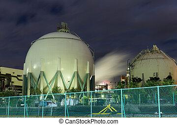 Natural Gas storage tanks at night