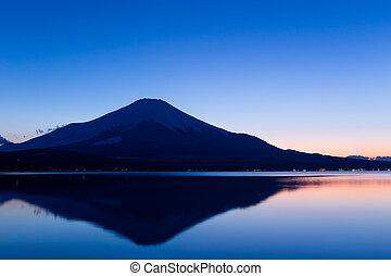 Fujisan and Lake Yamanaka at sunset