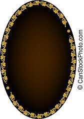Oval frame - Frame of leaves on dark background