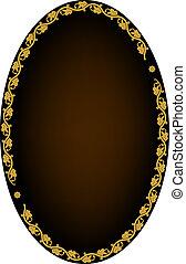 Oval frame - Frame of leaves on dark background