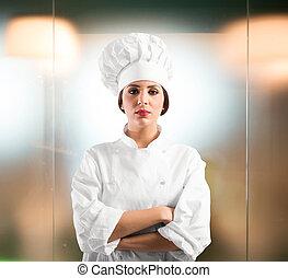 Confiado, mujer, Chef,