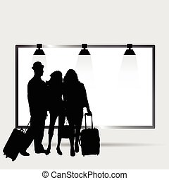 girl and man front billboard silhouette illustration