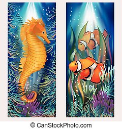 Underwater banners with clownfish, vector illustration