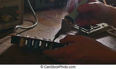 soldering Iron - old man retro technician radio solder...