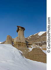Hoodoos in Winter Time, Drumheller Alberta Canada