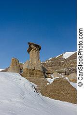 Hoodoos in Winter Time, Drumheller Alberta Canada