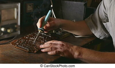 soldering Iron - old man retro technician radio retro solder...
