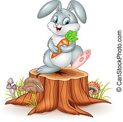 Little bunny holding carrot - Vector illustration of Little...