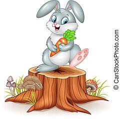 Little bunny holding carrot - Vector illustration of Little...