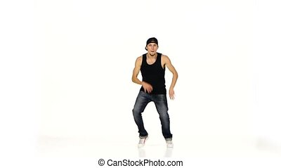 Young blonde dancer man dancing breakdance on white