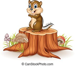 Cartoon chipmunk sitting on stump - Vector illustration of...