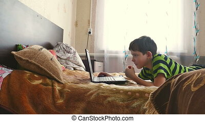 boy and laptop - boy internet browsing is playing laptop